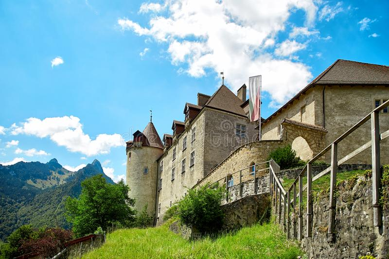 Castle of Gruyere. View of medieval Gruyeres Castle in Old Town Gruyere royalty free stock images