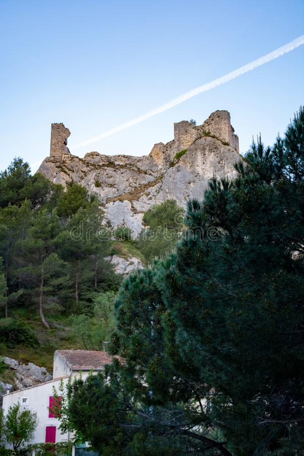 View on medieval houses and castle ruines in Provence, South of France, vacation and tourist destination stock photos