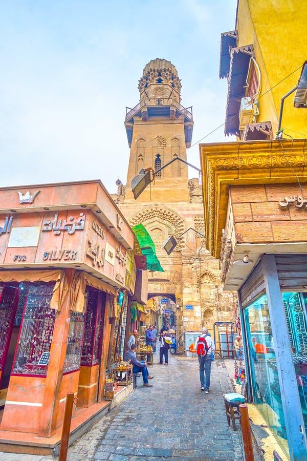 The view on medieval minaret of Madrasa of al-Salih Najm al-Din Ayyub, Cairo, Egypt. CAIRO, EGYPT - DECEMBER 20, 2017: The medieval minaret of Madrasa of al stock image