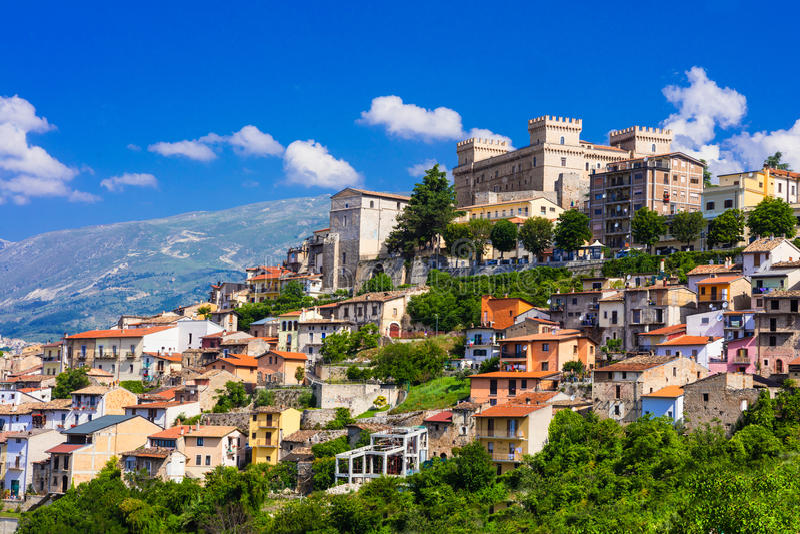 View of medieval town Celano, Province of L'Aquila, Abruzzo, Ita. Impressive medieval town of Celano,Abruzzo,Italy stock image