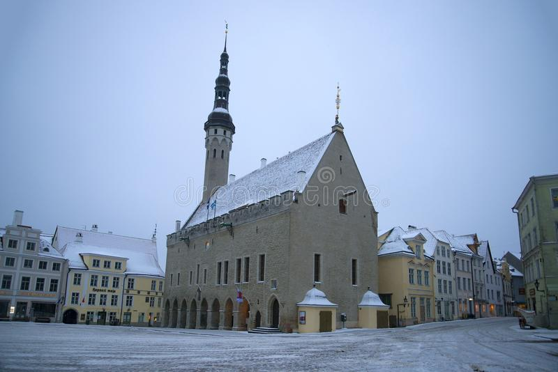 View of the medieval Town Hall on a gloomy March morning, Tallinn. Estonia royalty free stock photography