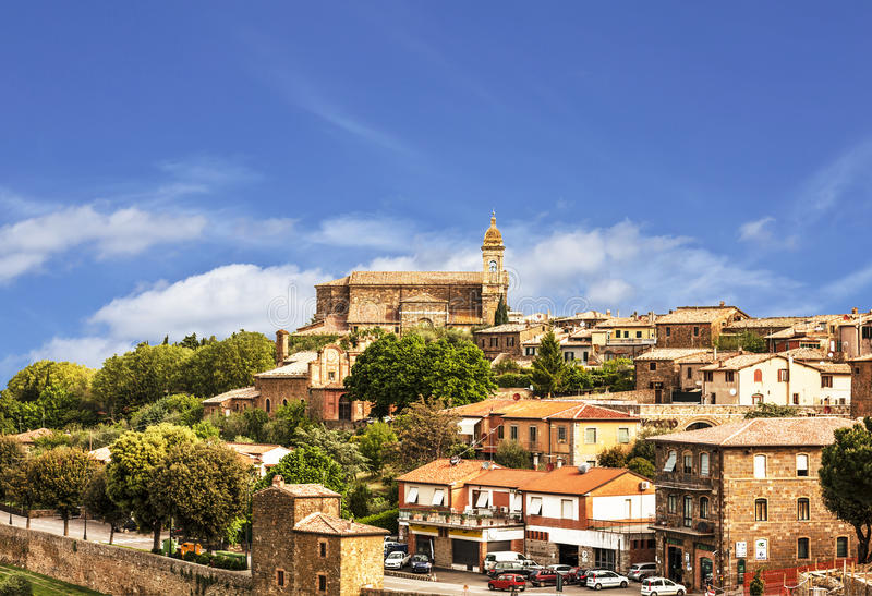 View of the medieval town of Montalcino. Tuscany. Italy stock photography