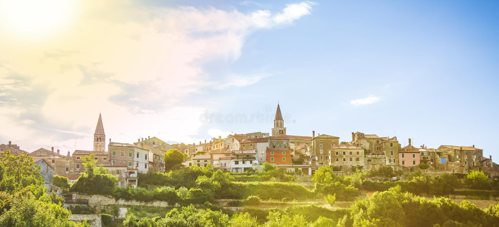 View on the medieval village Buje in Croatia. On a also known as the `sentinel of Istria` for its hilltop site. The town developed from a Roman and Venetian royalty free stock photography