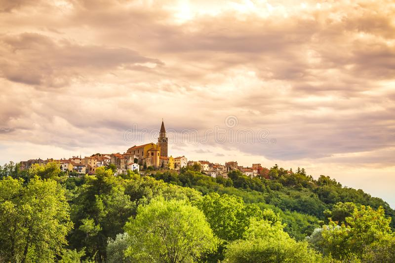 View on the medieval village Buje in Croatia. On a also known as the `sentinel of Istria` for its hilltop site. The town developed from a Roman and Venetian royalty free stock photos