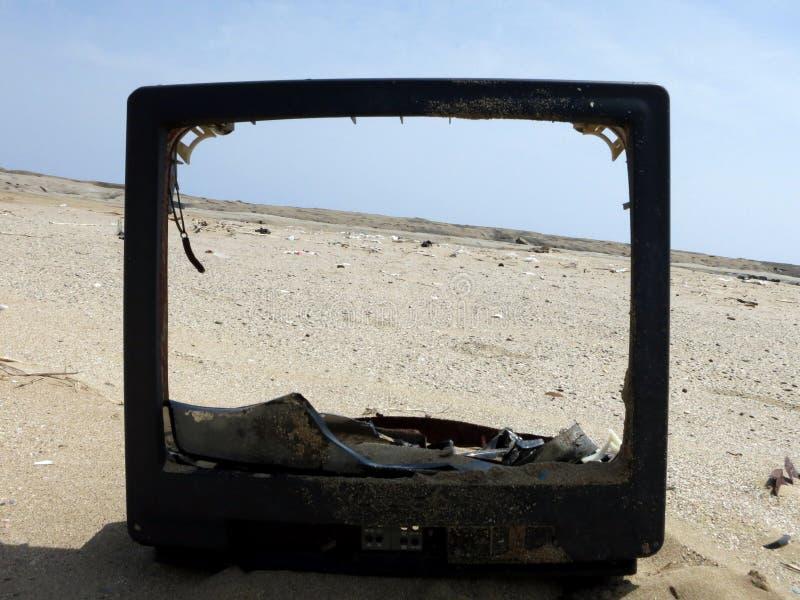 A view of the coast through a broken TV royalty free stock photos