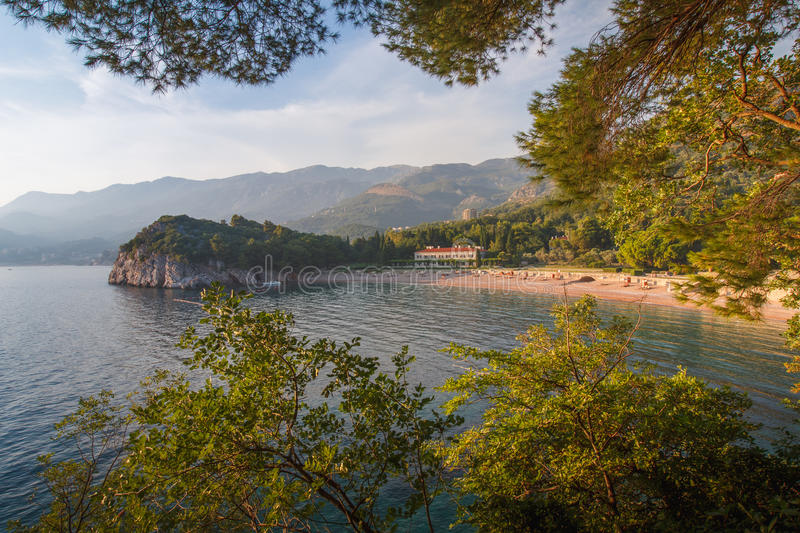 View of the Mediterranean sea and luxury hotel near beach. Milocer Park. Montenegro. royalty free stock image
