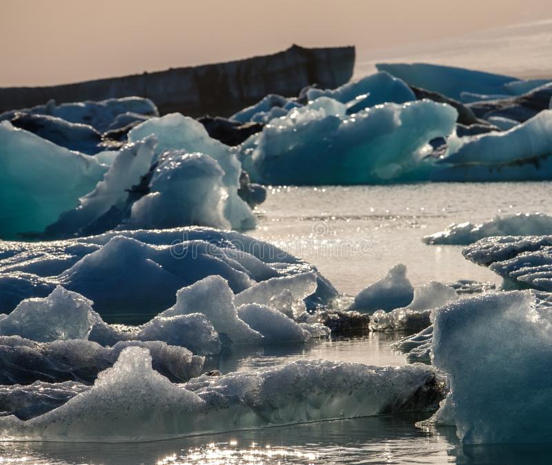 View of melting down glacier due to global warming royalty free stock images