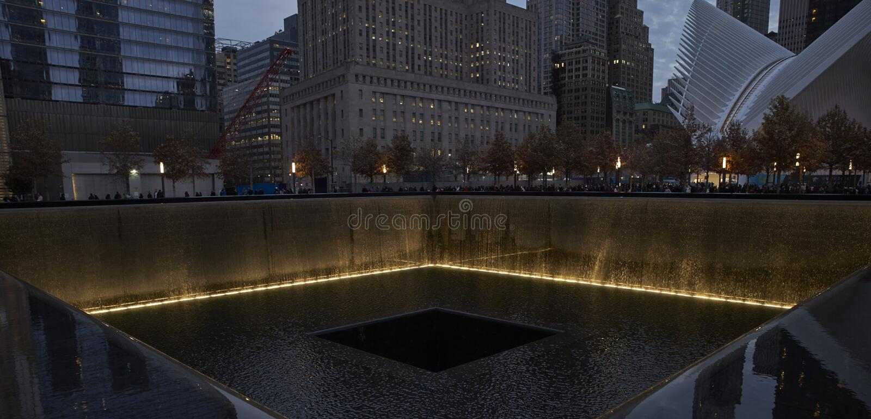 WTC, 9/11 memorial in New York stock photography