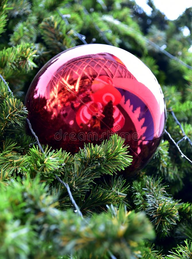 Closeup red bauble Christmas tree Gift Box balloon star stock images