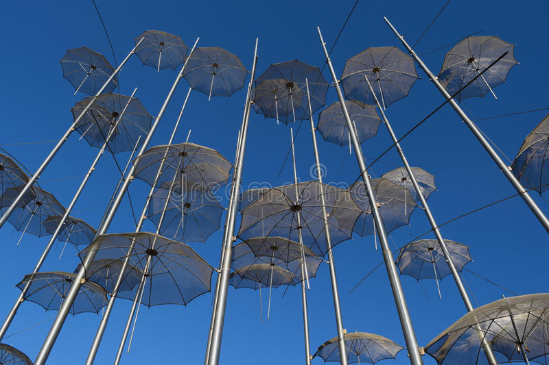 View of the metal umbrellas in Thessaloniki. stock photo