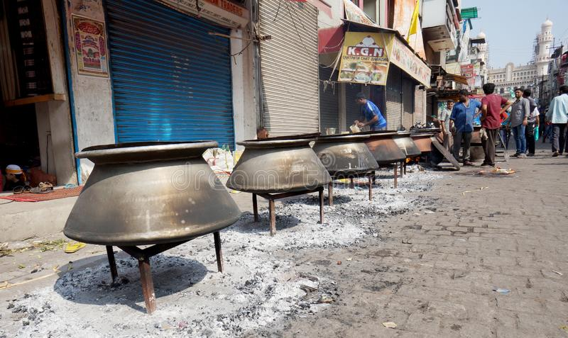 People cook food with fire wood,in the streets,on Mohammed Prophet Birth Day,for distribution or feeding peopl stock photography