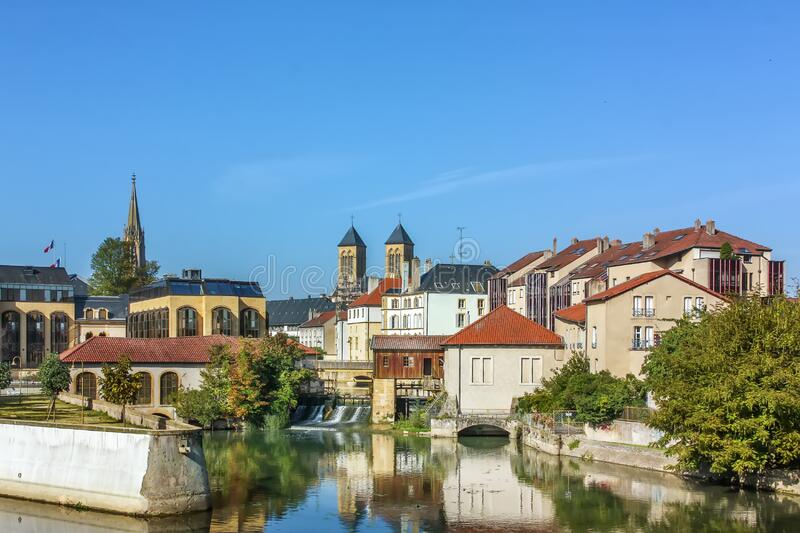 View of Metz, France. View of Metz city center with Moselle river, France stock photo