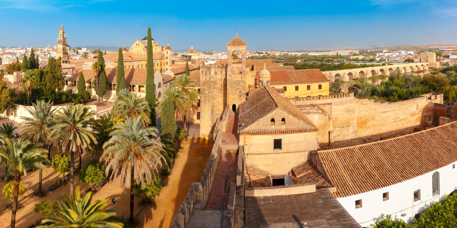 View of Mezquita from Alcazar in Cordoba, Spain royalty free stock images