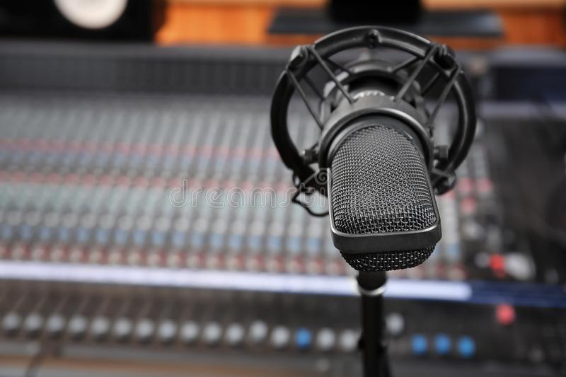 View of microphone. In radio station stock photos