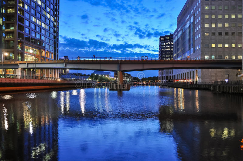 View of Middle Dock at Canary Wharf in London royalty free stock images