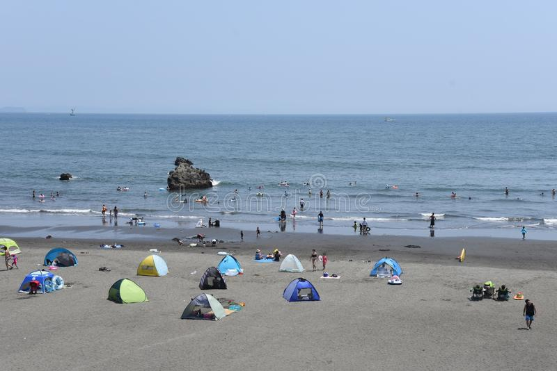 The view of the midsummer seaside. The spectacle of the beach of midsummer of Japan Kanagawa Shonan Coast stock photography