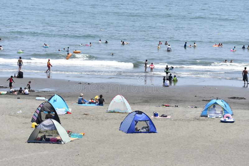 The view of the midsummer seaside. The spectacle of the beach of midsummer of Japan Kanagawa Shonan Coast stock photo