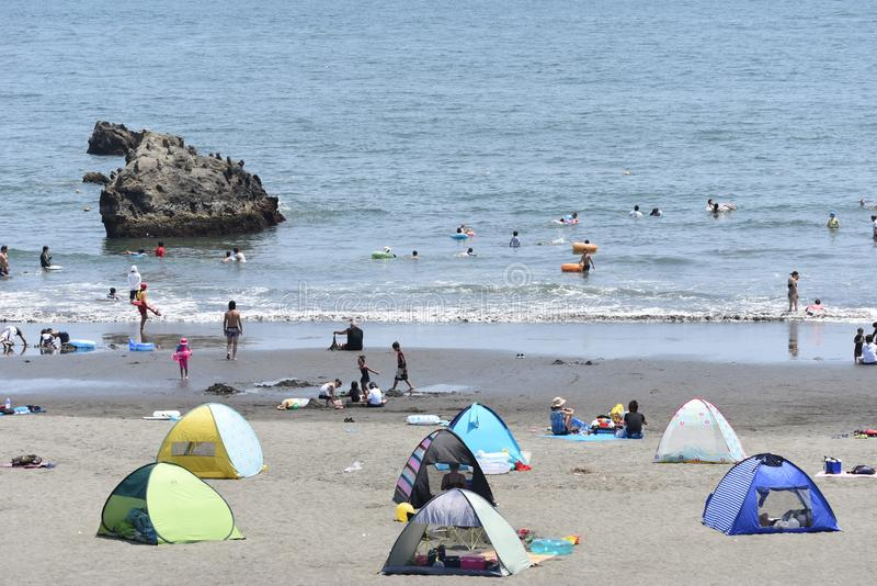 The view of the midsummer seaside. The spectacle of the beach of midsummer of Japan Kanagawa Shonan Coast stock image