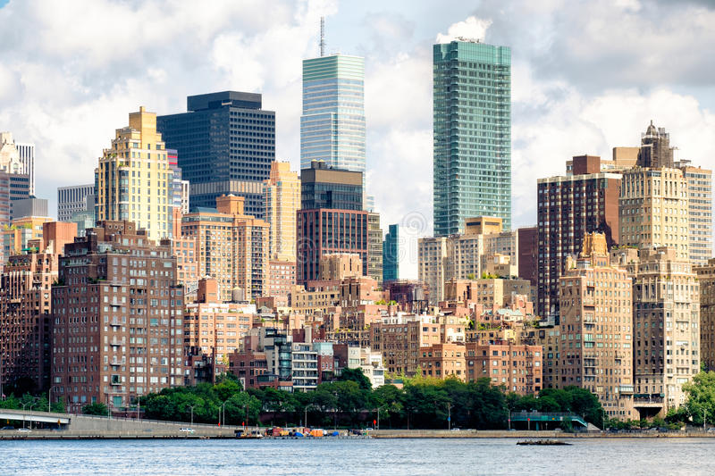 View of midtown Manhattan with several old and new apartment bui royalty free stock images