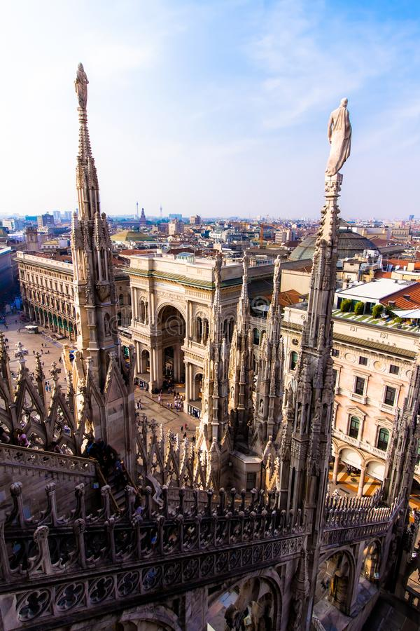 View of Milan from the the Duomo stock image