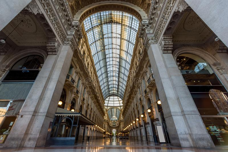 Milano city wiews. Vittorio Emanuele Gallery royalty free stock photos