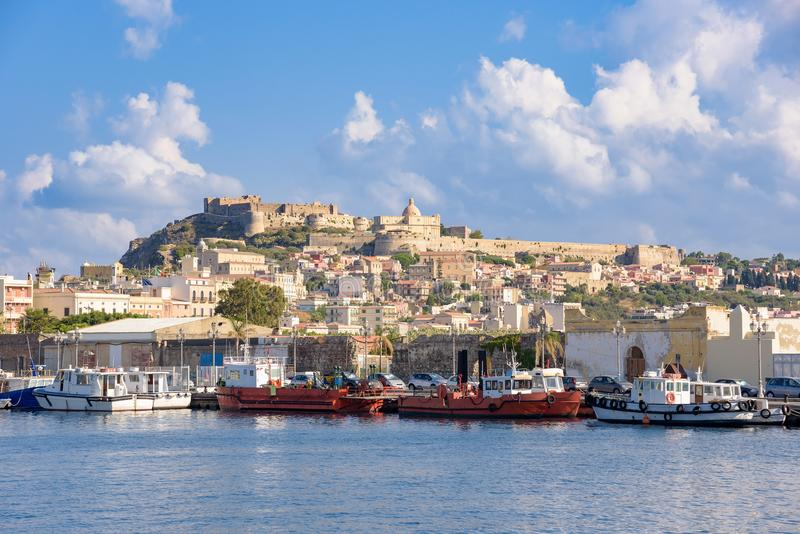 View of Milazzo town from the sea stock photography