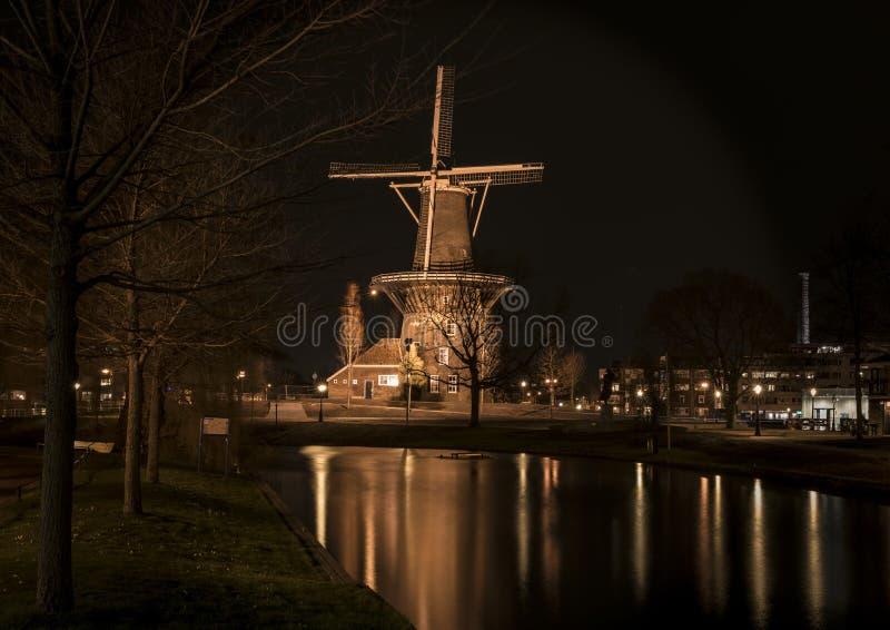 View at the Mill ` De valk `on the Rijnsburgersingel. Leiden royalty free stock photo