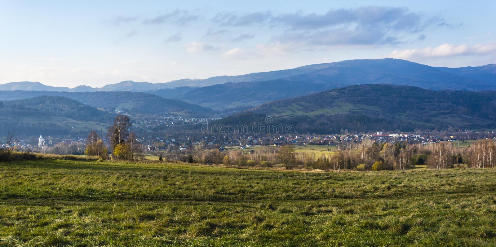 View of the Milowka village in Zywiec County, Silesian Voivodeship, in southern Poland stock photography