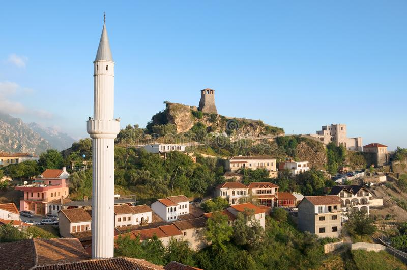 Kruja Village, Albania. View of the minaret of the Kruja village, the Clock Tower and National Museum in Skanderbeg Castle, Albania stock photography