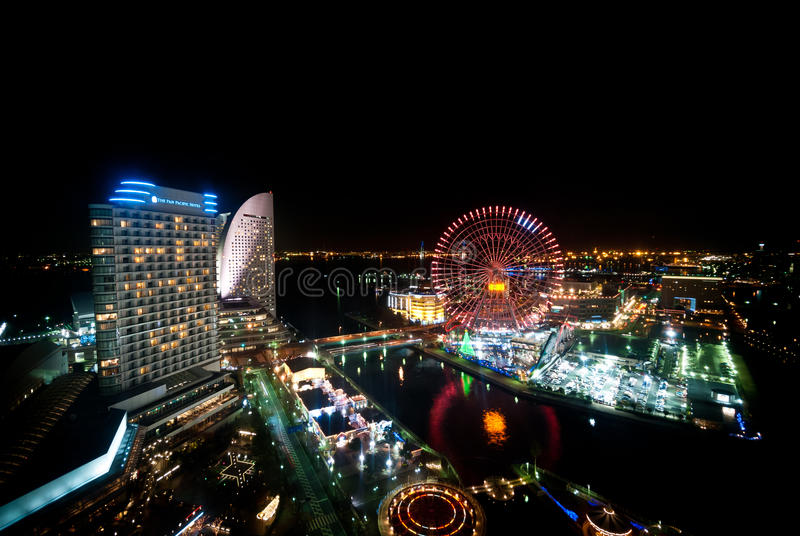 View of Minato Mirai, Yokohama, Japan from top of the building a royalty free stock images