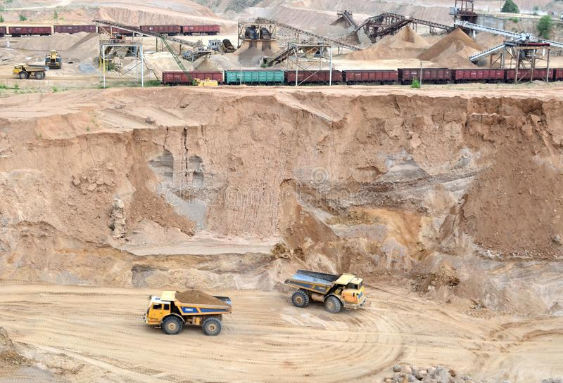 View on the mining quarry. Plant for the production sand and gravel for the construction industry. royalty free stock photography