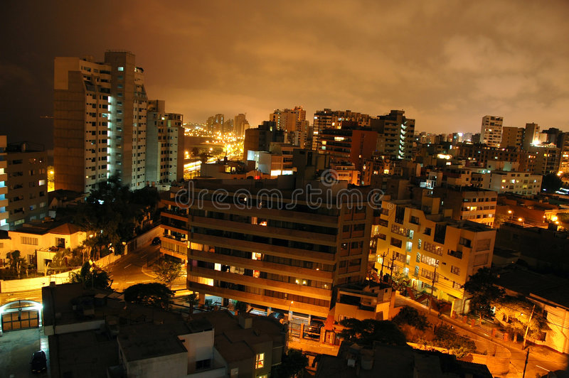 View of Miraflores in Lima Per. U at night royalty free stock photo