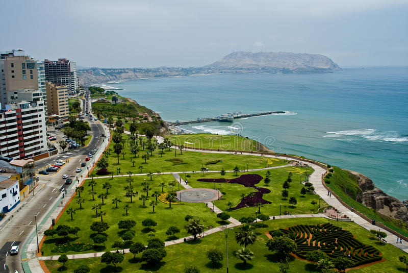 View of Miraflores Park, Lima - Peru. View of a Miraflores Park and the Pacific Ocean in Lima, Peru stock images