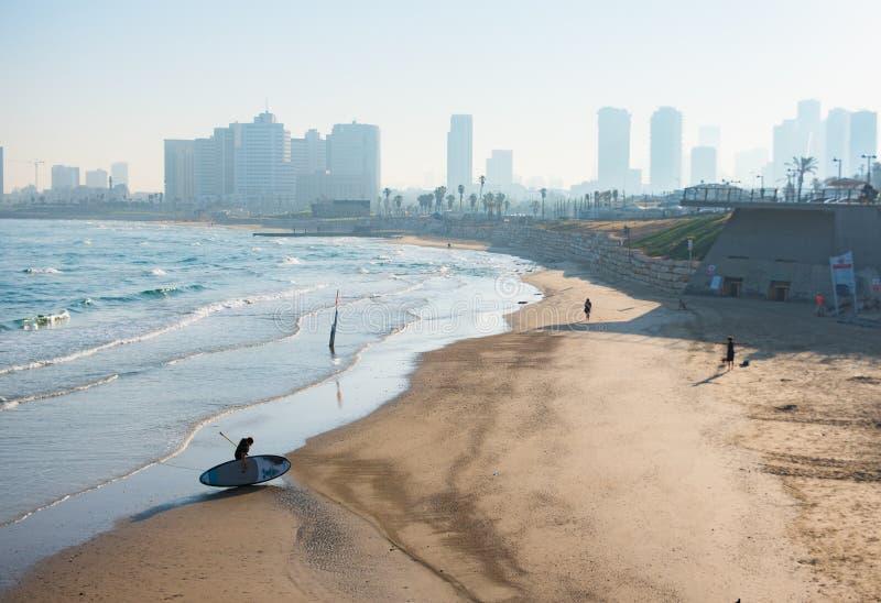 Early morning Tel Aviv across the sandy bay of Jaffa royalty free stock photography