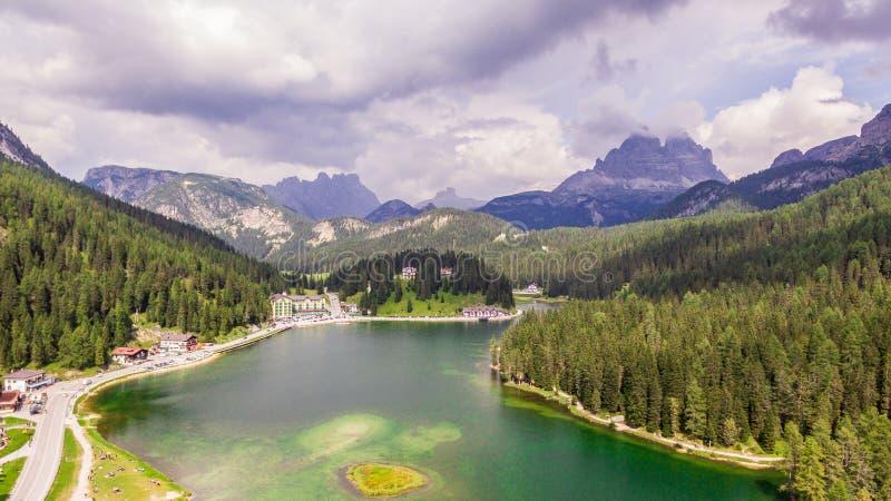 View of Misurina lake royalty free stock photo