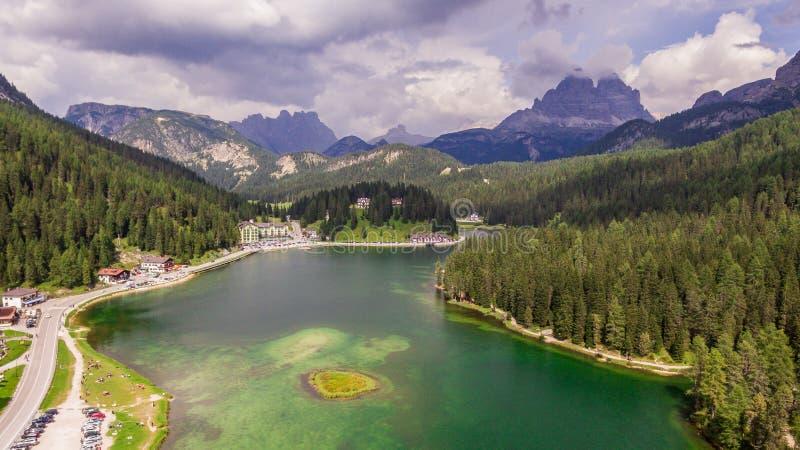 View of Misurina lake royalty free stock photos