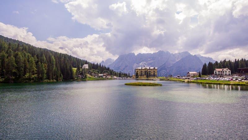 View of Misurina lake stock images