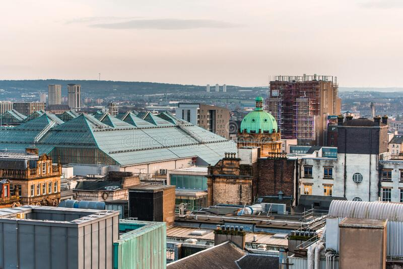 A view of the mixed architecture of old and new buildings in Glasgow city, Scotland. A view of the mixed architecture of old and new buildings in Glasgow city in royalty free stock photos