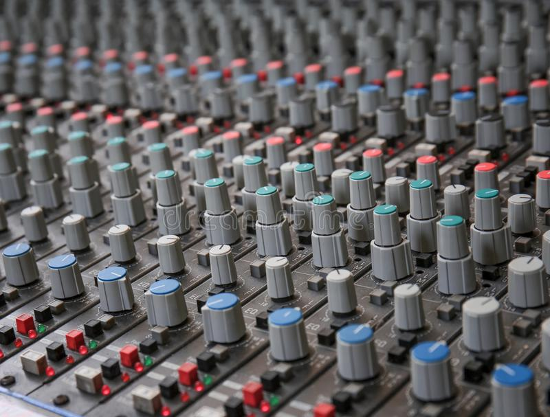 View of mixer. In radio station stock image