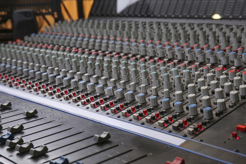 View of mixer. In radio station stock photography