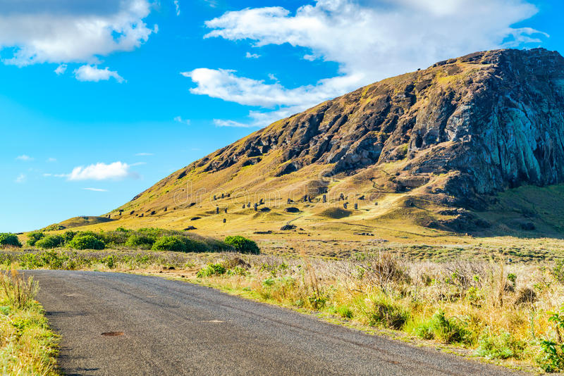 View of Moai in the quarry at the Volcano Rano Raraku. In Easter Island Rapa Nui, Chile royalty free stock photos