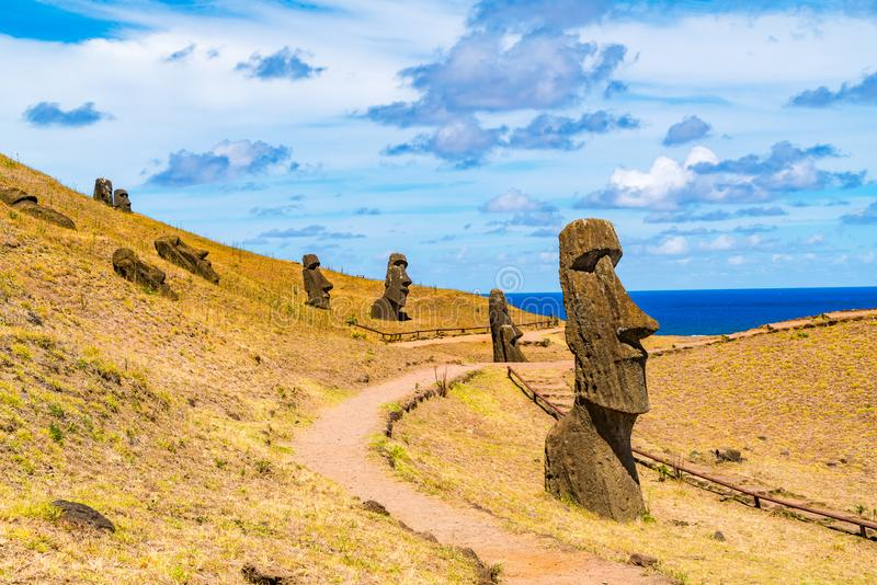 View of Moais Quarry at Rano Raraku on the Easter Island royalty free stock photography