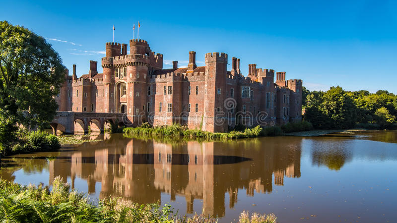 View of a moated brick castle. In Southern England royalty free stock photos