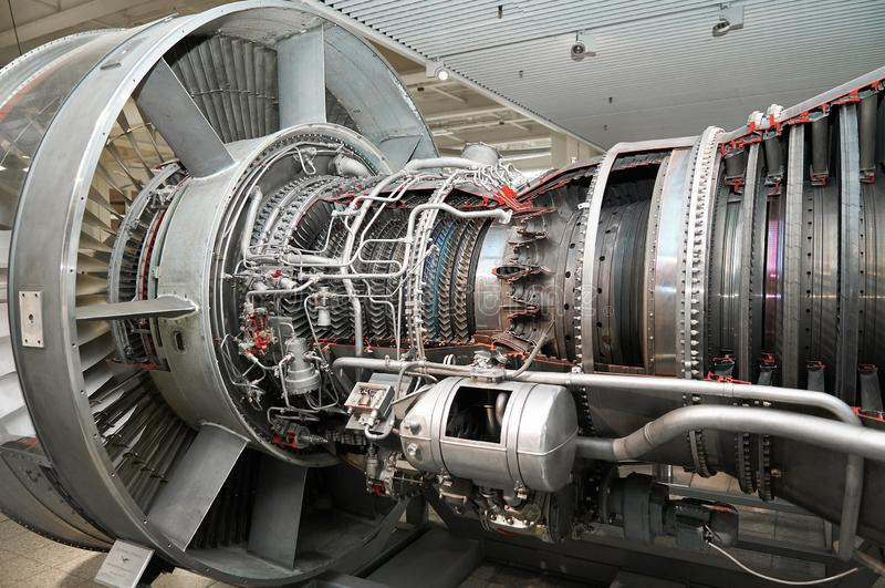 View on modern aircraft turbine cross section with different equpment, parts, components. Plane turbine blades stock images