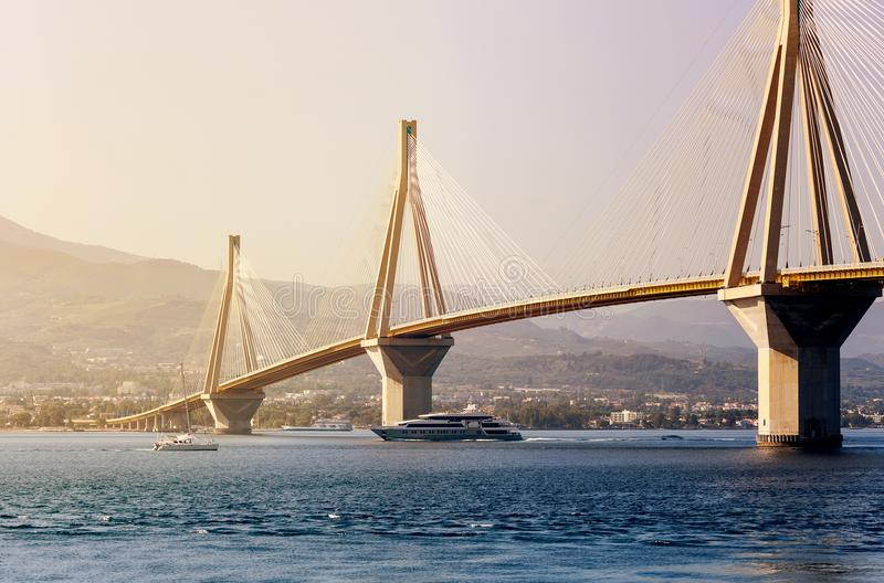 View of the modern bridge. View on Rion-Antirion bridge - the longest cable-stayed bridge in the world with a continuous overhead surface with a length of more royalty free stock images