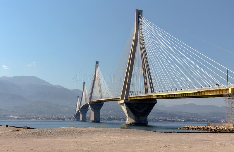 View of the modern bridge. View on Rion-Antirion bridge - the longest cable-stayed bridge in the world with a continuous overhead surface with a length of more stock photos