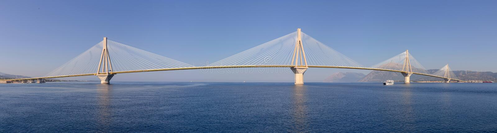 View of the modern bridge. View on Rion-Antirion bridge - the longest cable-stayed bridge in the world with a continuous overhead surface with a length of more royalty free stock photo