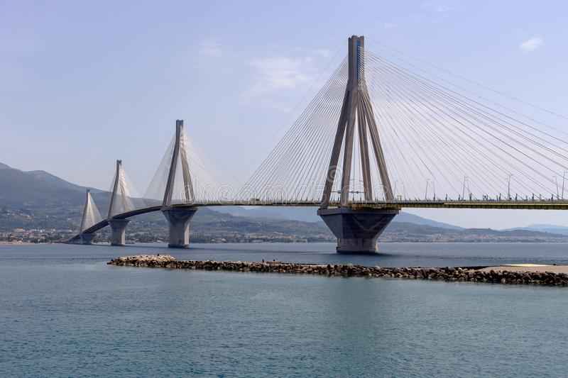 View of the modern bridge. View on Rion-Antirion bridge - the longest cable-stayed bridge in the world with a continuous overhead surface with a length of more stock photo