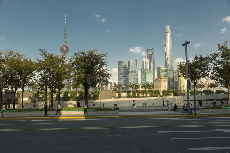View of modern buildings in Shanghai, China Lujiazui royalty free stock image