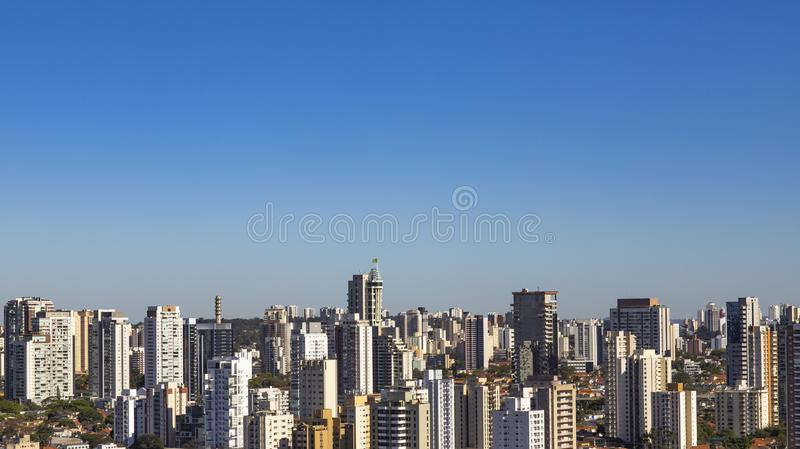 View at modern courtyard. Facade of modern building. Sao Paulo city, Brazil. royalty free stock images